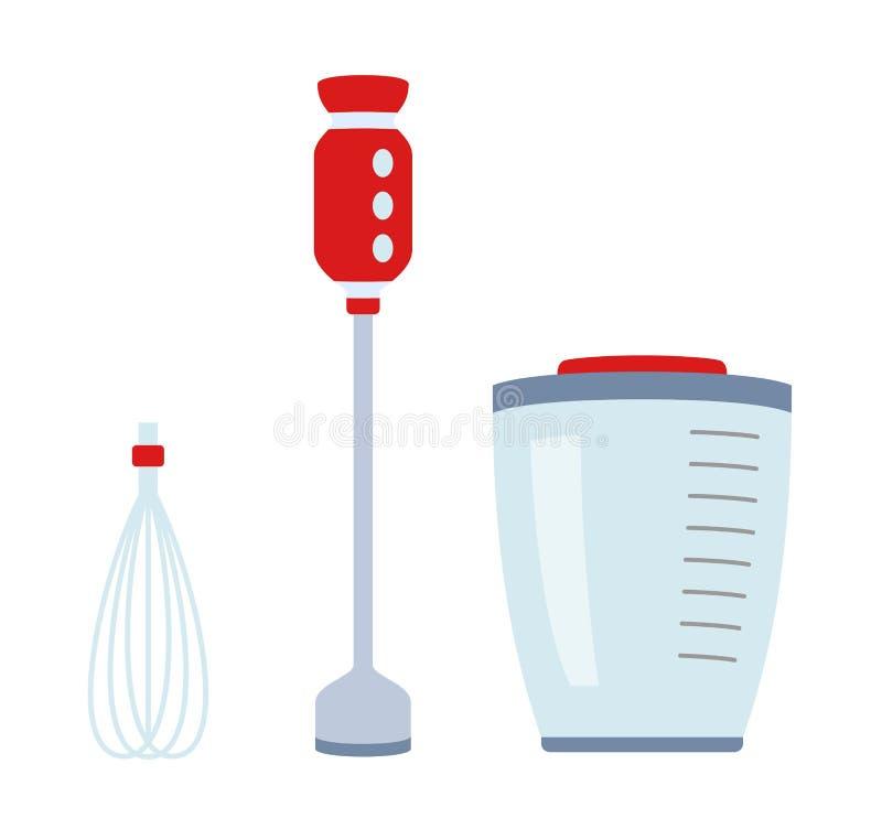 Einfache Ikone der Mischmaschine lokalisiert Haushaltsgerät Moderne Mischmaschine, Zerhacker, Schleifer Flache Art stock abbildung