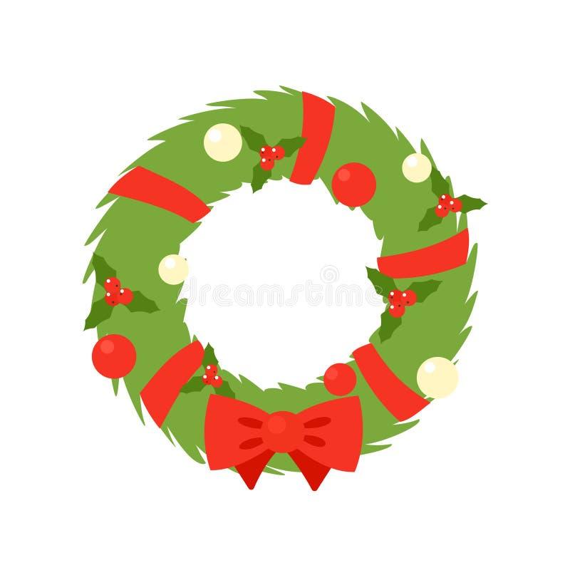 Einfache Ikone des Weihnachtskranzes stock abbildung