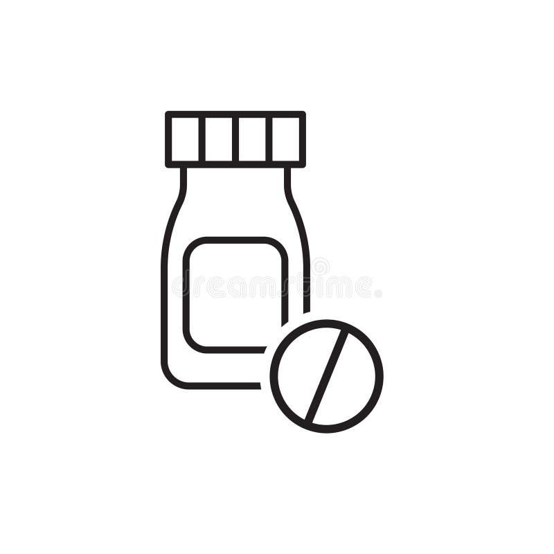 Einfache Ikone von aspirin, von Droge oder von Medizinpillen Flache lineare Ikone vektor abbildung