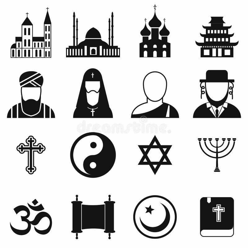 Einfache Ikonen der Religion eingestellt stock abbildung