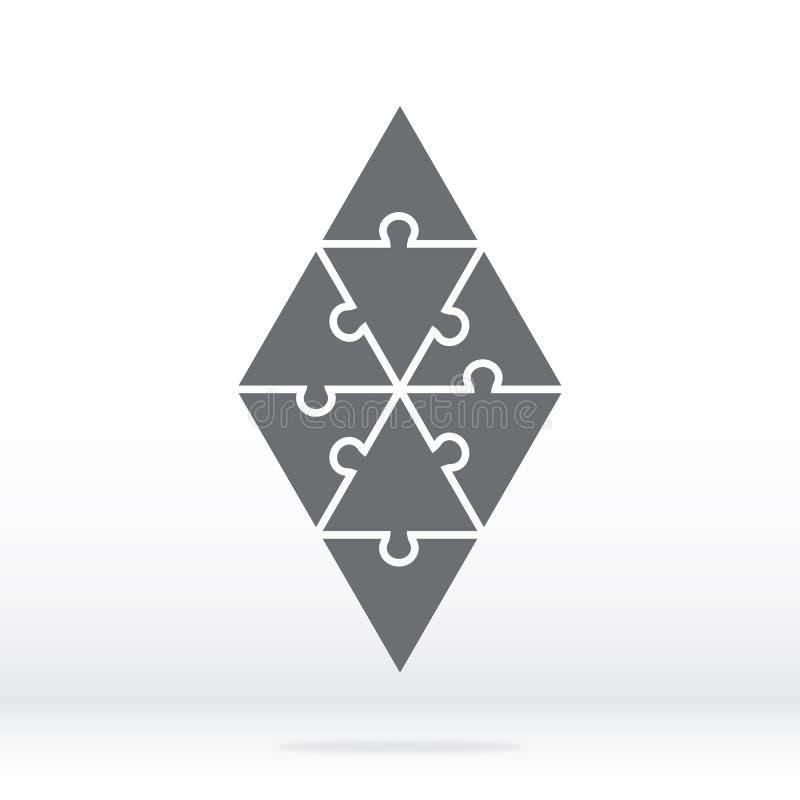 Einfache Ikonenrautenpuzzlespiele im Grau Einfaches Ikonenpuzzlespiel der acht Stücke lizenzfreie abbildung