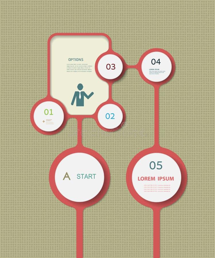 Einfache Infographics-Element-Designschablone kann für nummerierte Fahnen benutzt werden herausgeschnittene Linien Grafik- oder W stock abbildung