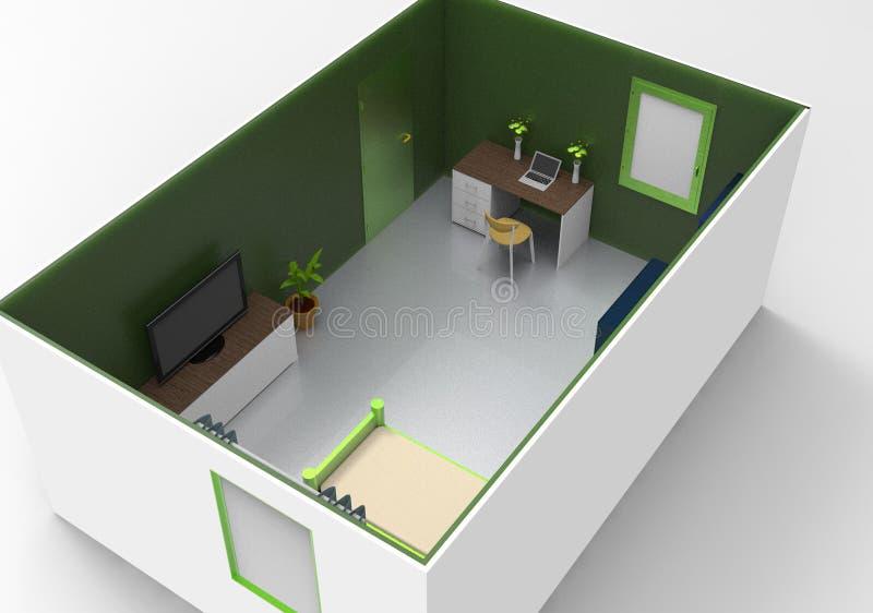 Einfache Innenarchitektur für gemütlichen Raum lizenzfreie abbildung