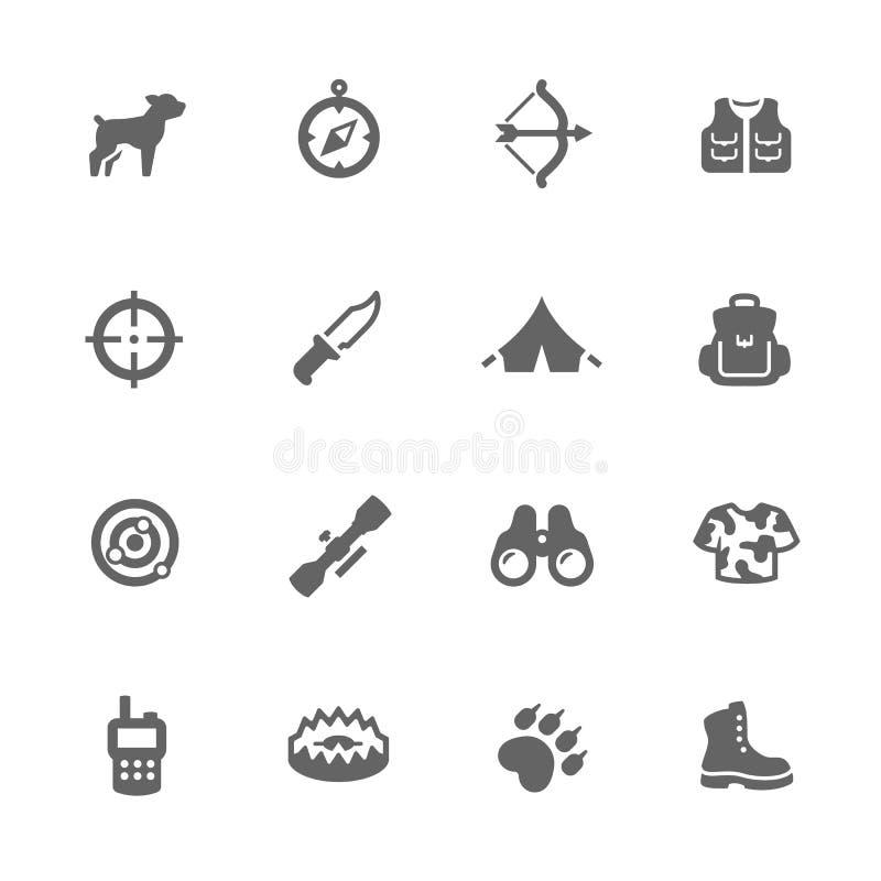 Einfache Jagd-Ikonen lizenzfreie abbildung