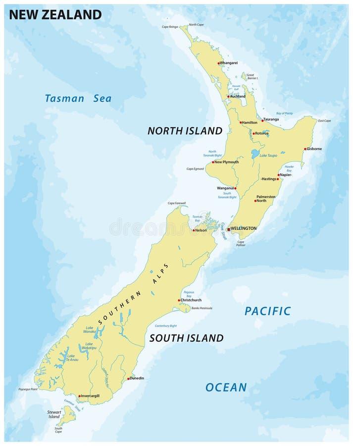 Einfache Karte von Neuseeland lizenzfreie abbildung