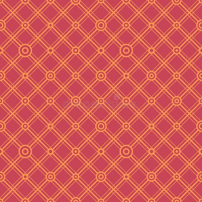 Einfache klassische geometrische Verzierung mit direkten Leitungen und Kreisen Nahtloses Muster des Vektors f?r Gewebe, Drucke, T lizenzfreie abbildung