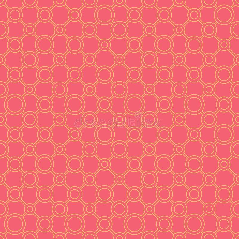 Einfache klassische geometrische Verzierung mit direkten Leitungen und Kreisen Nahtloses Muster des Vektors f?r Gewebe, Drucke, T stock abbildung