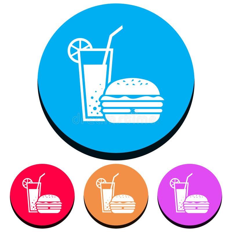 Einfache, Kreis-, flache Ikone eines Cocktails/des Getränks und ein Burger/ein Sandwich Vier Farbveränderungen lizenzfreie abbildung