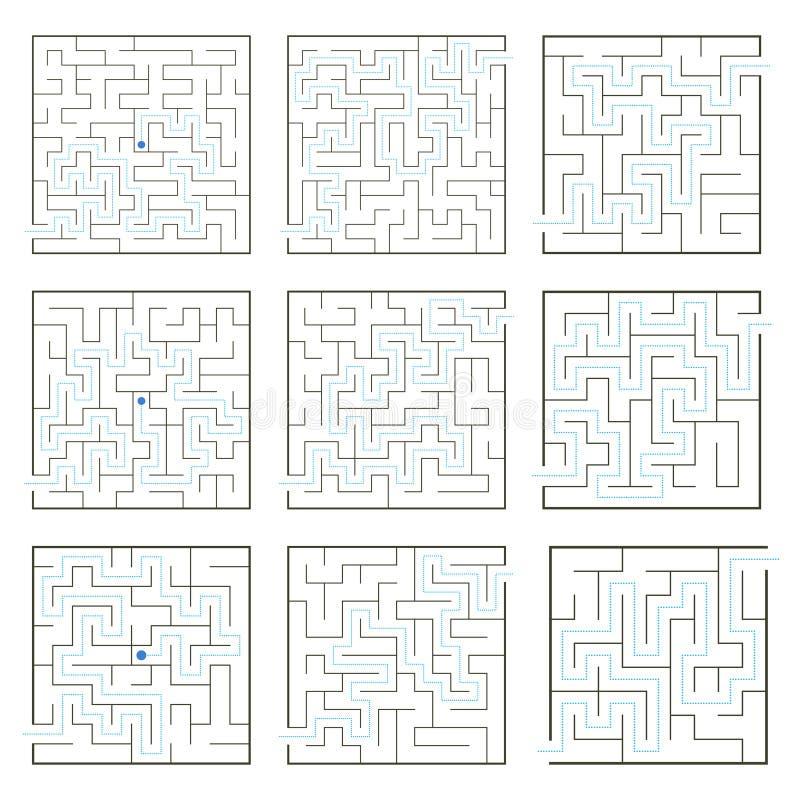 Einfache Labyrinthsammlung lizenzfreie abbildung
