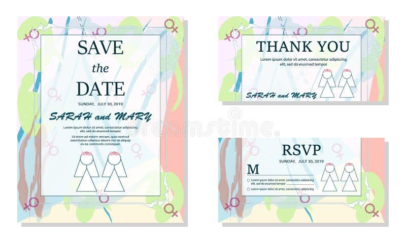 Einfache lesbische Paare in den weißen Brautkleidern Gleichgeschlechtliche Familie Homosexuelle Ehe Zwei Bräute weiße slhouettes  lizenzfreie abbildung