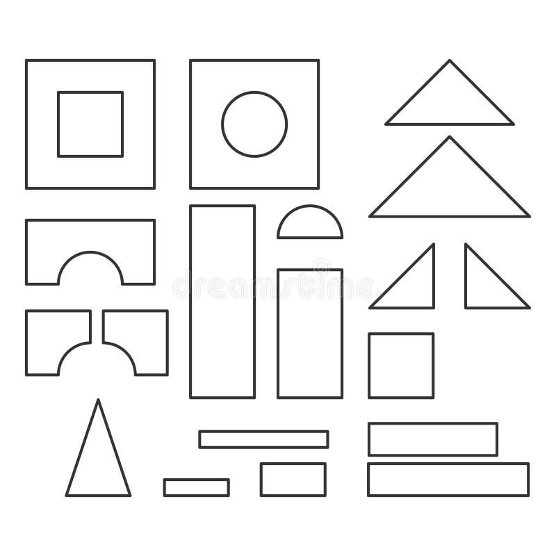 Einfache Linie Art blockiert Spielzeugdetails für Malbuch lizenzfreie abbildung