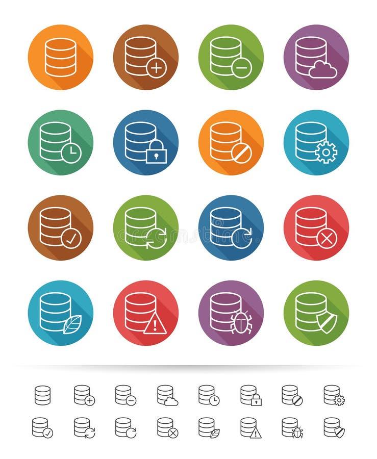 Einfache Linie Art: Datenbank-u. Datenverbindungsikonen stellen ein - Vector Illustration stock abbildung