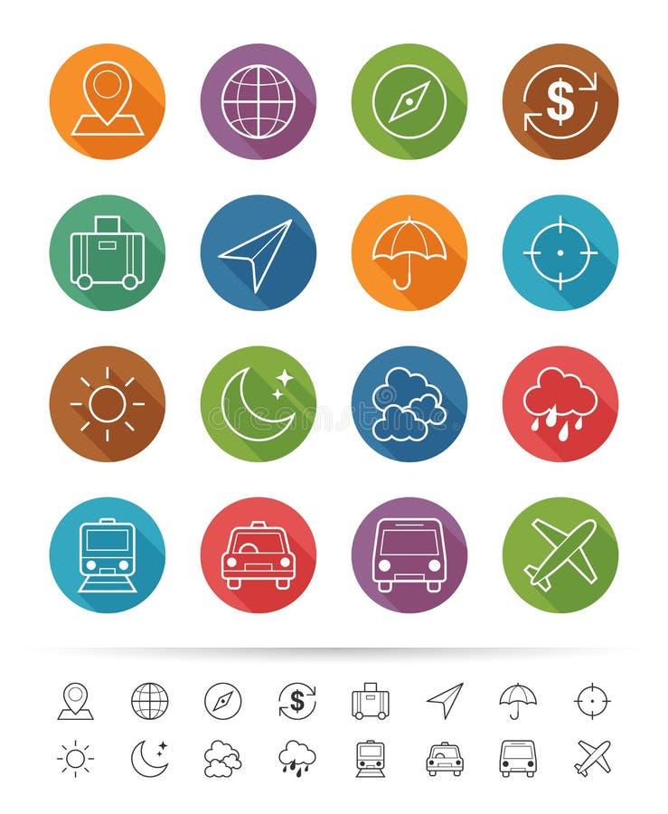 Einfache Linie Art: Reise- u. Geschäftsikonen stellen ein - Vector Illustration stock abbildung