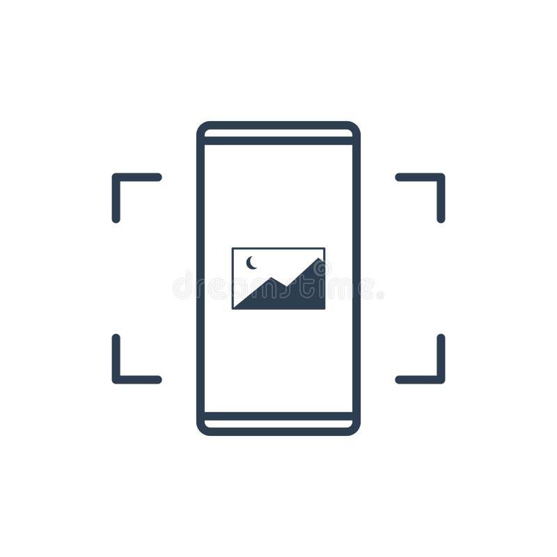 Einfache Linie der Handy-Vektor-Ikone - bewegliches Fotobild Fotografiekunst vektor abbildung