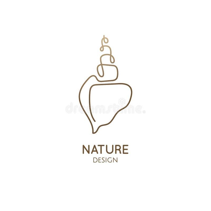 Einfache Linie des Logos eins der Muschel stock abbildung