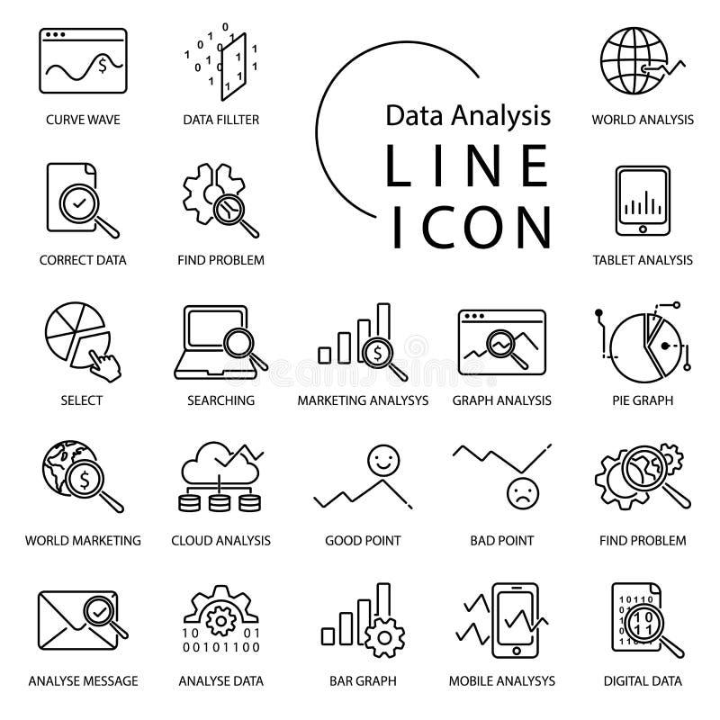 Einfache Linie Ikone über Analytics Schließen Sie Diagramm, Diagramm, Suche, Wolke und mehr ein lizenzfreie abbildung