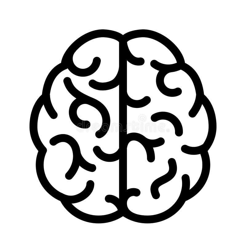 Einfache Linie Ikone des Gehirns stock abbildung