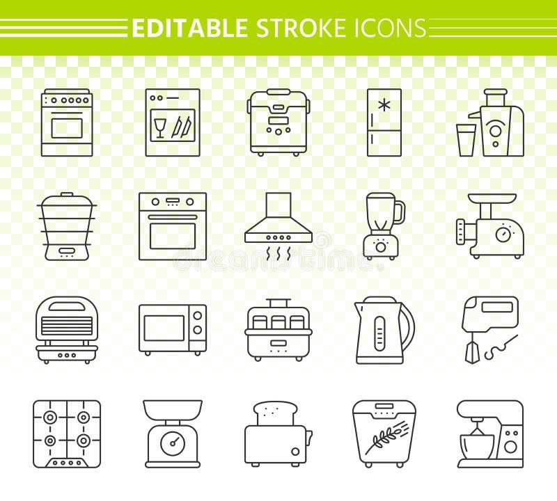 Einfache Linie Ikonenvektorsatz des Küchengeräts stock abbildung