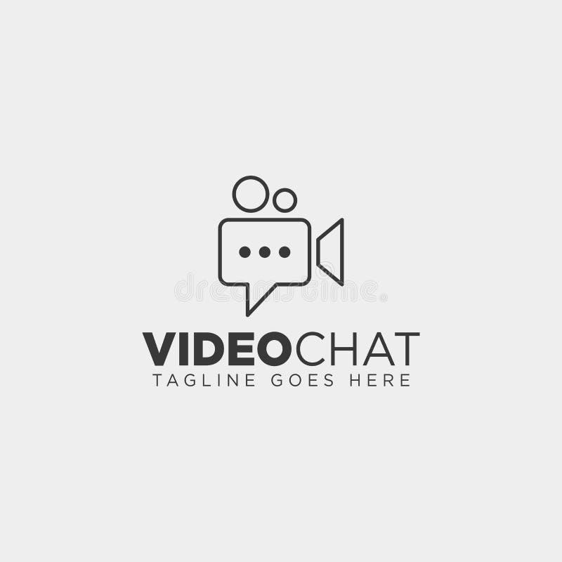 einfache Linie Logoschablonenvektorillustrations-Ikonenelement Filmschwätzchenmediender videogesprächs-Unterhaltung vektor abbildung