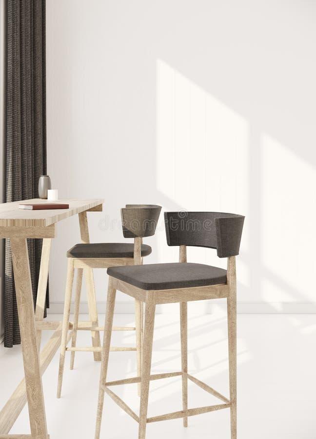 Einfache Möbel in der Wiedergabe des Reinraumes 3d lizenzfreie stockfotos