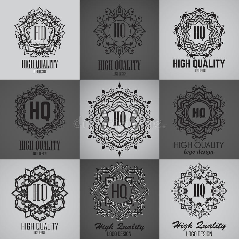 Einfache Monogrammdesignschablone Elegante Rahmenverzierungslinie Logodesign lizenzfreie stockfotografie