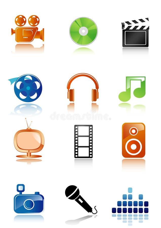 Einfache Multimediaikonen stock abbildung