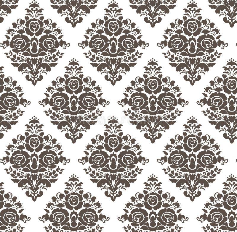 Einfache nahtlose Blume des Damastvektor-Musters elegant vektor abbildung
