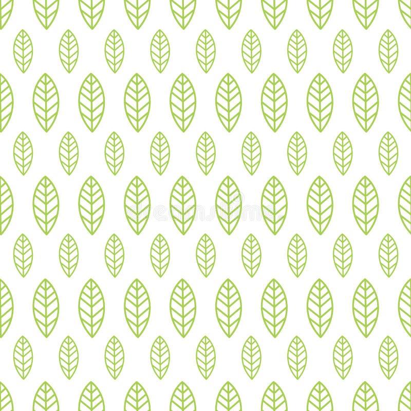 Einfache nahtlose organische Tapete mit einem Muster des Grüns verlässt in einer linearen Art Gut für organische Tapete vektor abbildung
