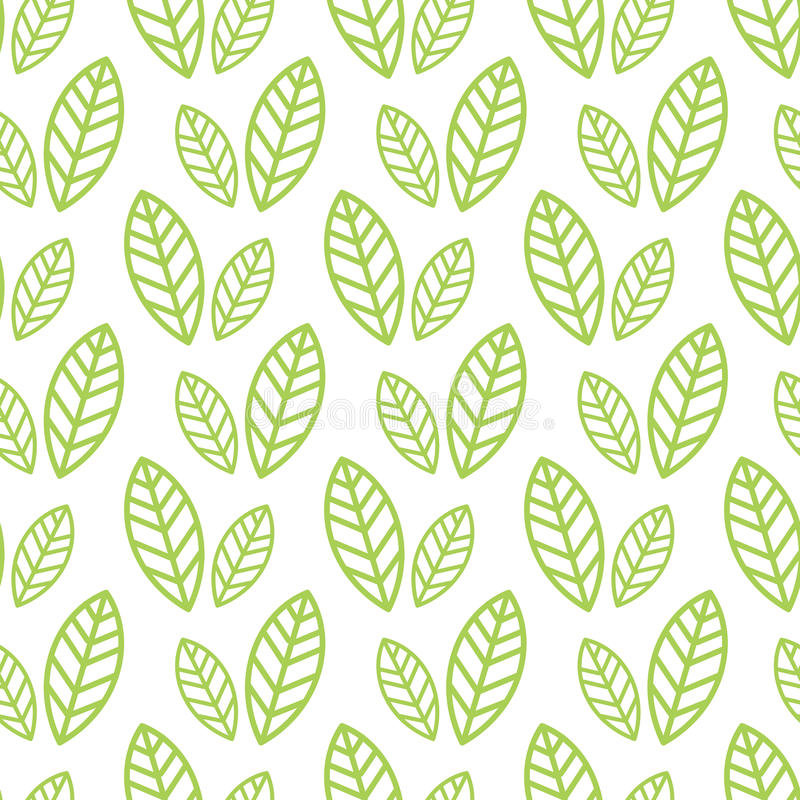 Einfache nahtlose organische Tapete mit einem Muster von Grünblättern und von grünem Blatt in einer linearen Art Gut für organisc vektor abbildung