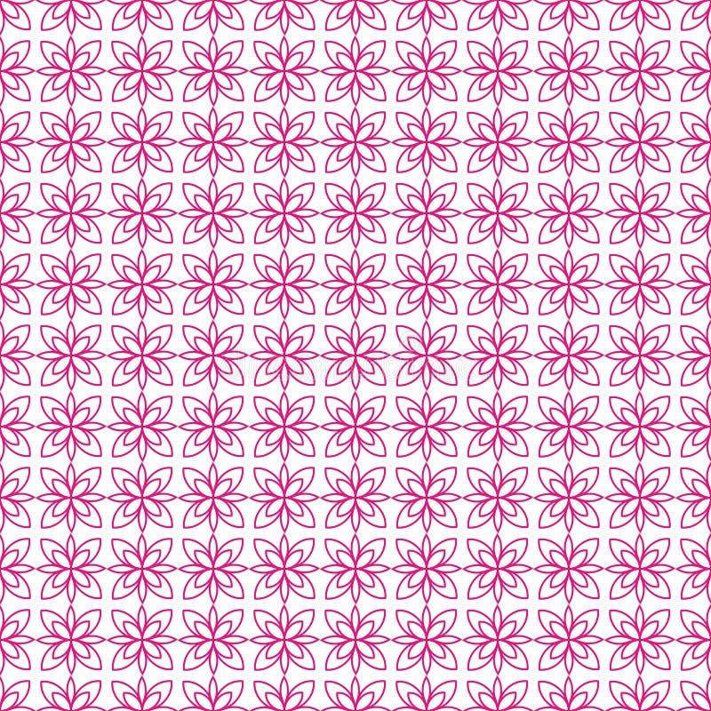 Einfache nahtlose Tapete mit einem Muster von purpurroten Blumen in einer linearen Art, geometrischer Stil Gut für Tapete stock abbildung
