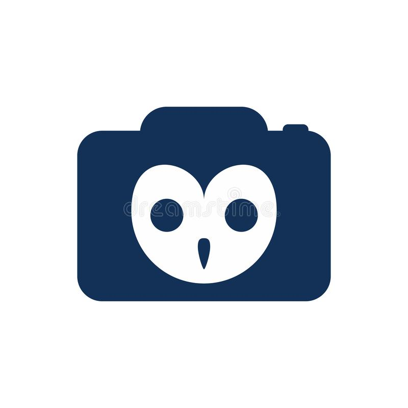 Einfache Owl Camera Animal Photography Logo-Ikone vektor abbildung