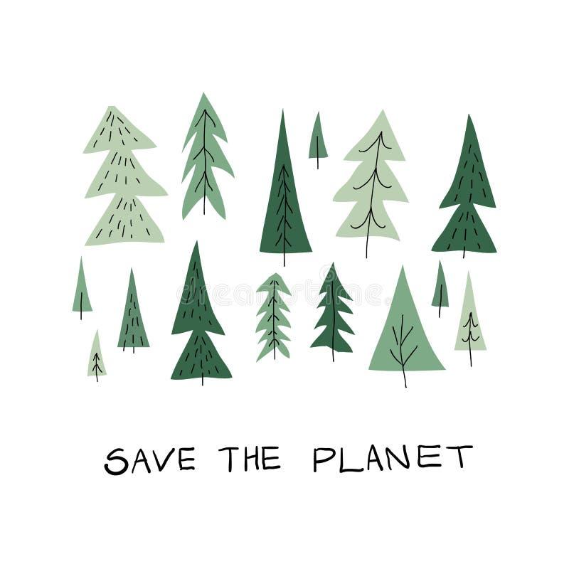 Einfache Postkarte Forest Christmas-Baums lizenzfreie abbildung
