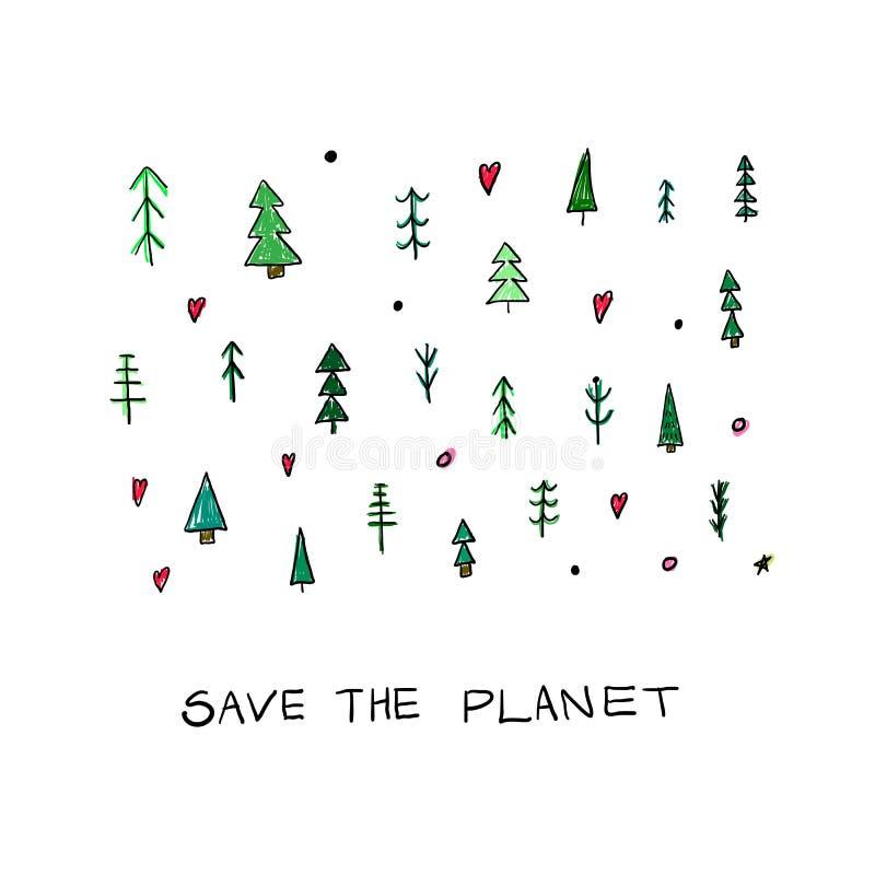 Einfache Postkarte Forest Christmas-Baums stock abbildung