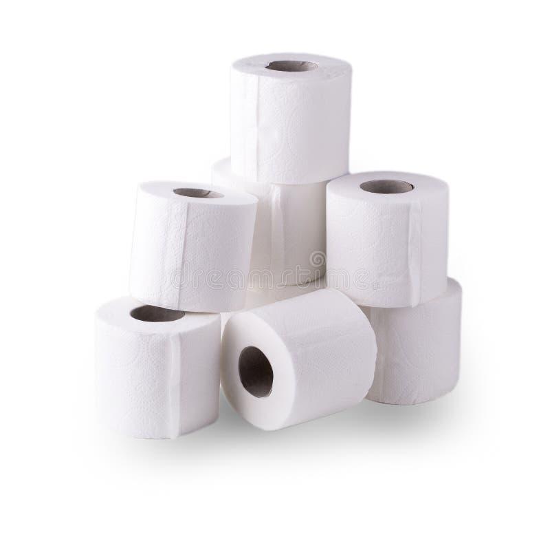 Einfache Rolle von Toilettenpapieren auf dem Weiß stockfoto