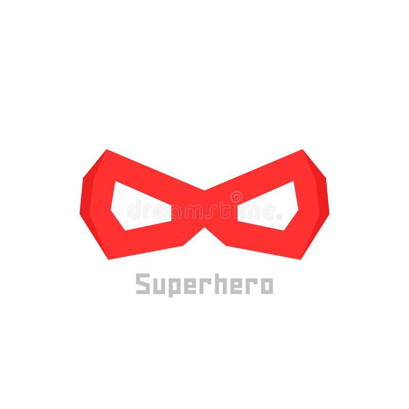 Einfache rote Superheldmaskenikone stock abbildung