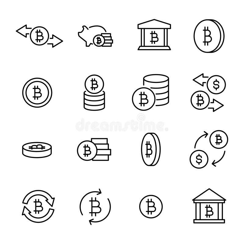 Einfache Sammlung cryptocurrency in Verbindung stehender Linie Ikonen stock abbildung