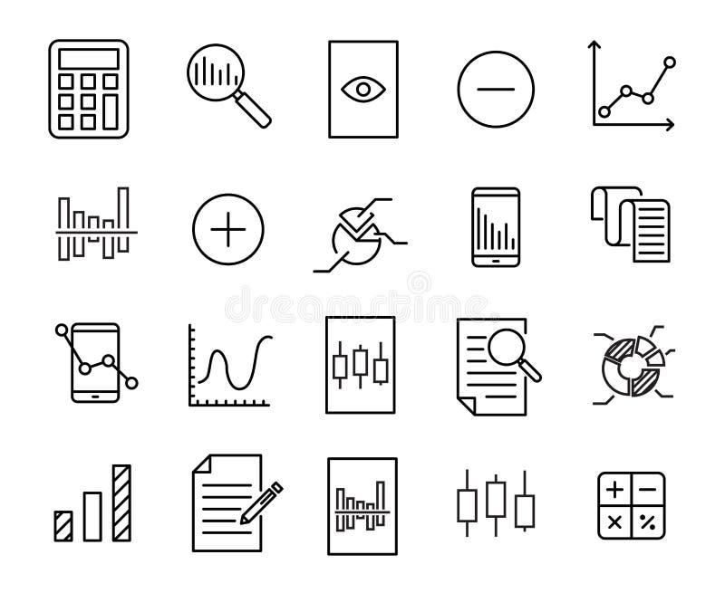 Einfache Sammlung der in Verbindung stehenden Linie Ikonen der Berechnung lizenzfreie abbildung