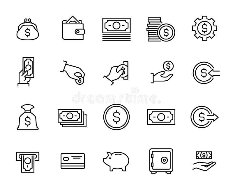 Einfache Sammlung der in Verbindung stehenden Linie Ikonen des Bargeldes stock abbildung