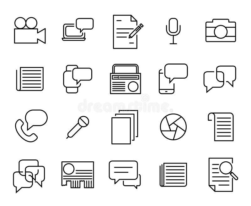 Einfache Sammlung der in Verbindung stehenden Linie Ikonen des Journalismus lizenzfreie abbildung