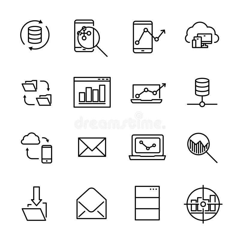 Einfache Sammlung der in Verbindung stehenden Linie Ikonen der Entwicklung lizenzfreie abbildung
