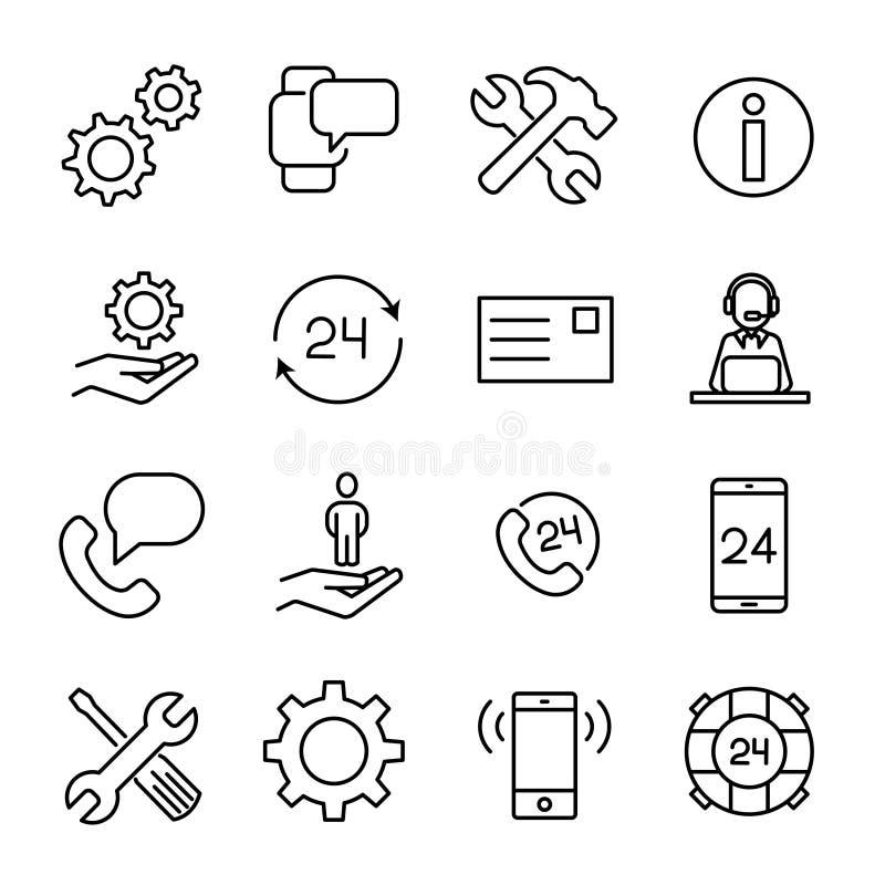 Einfache Sammlung der in Verbindung stehenden Linie Ikonen der Kundenbetreuung vektor abbildung