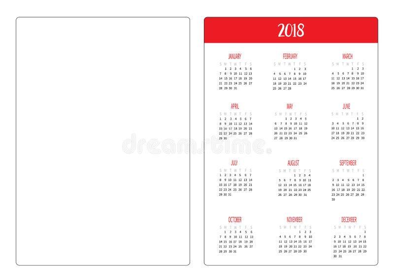 Einfache Schablone des neuen Jahres des Taschenkalenderplans 2018 Woche beginnt Sonntag Vertikale Orientierung Flaches Design Wei lizenzfreie abbildung