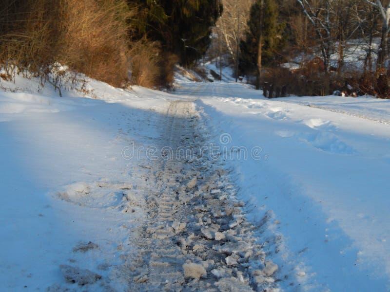Einfache schneebedeckte Reifenbahnen - Porträt stockfotografie