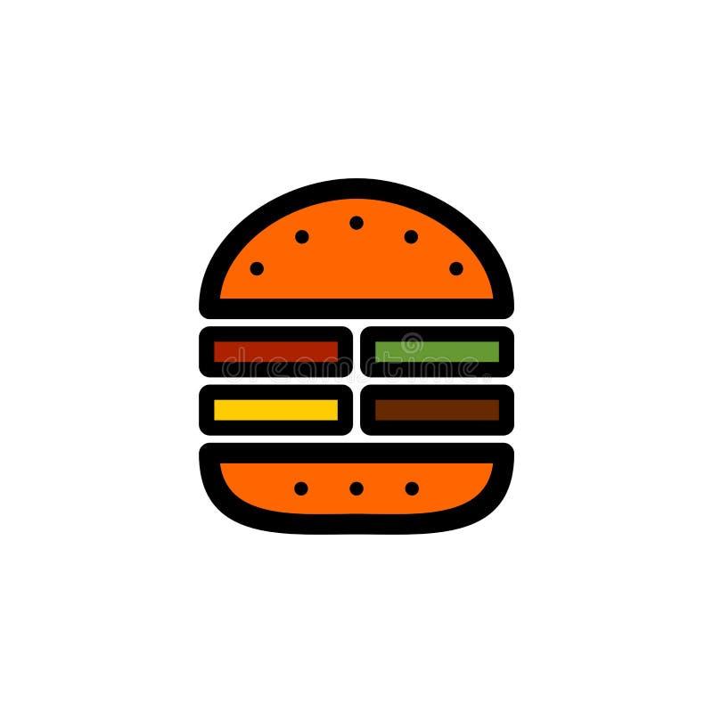 Einfache Schnellimbissikone des Burgers stock abbildung