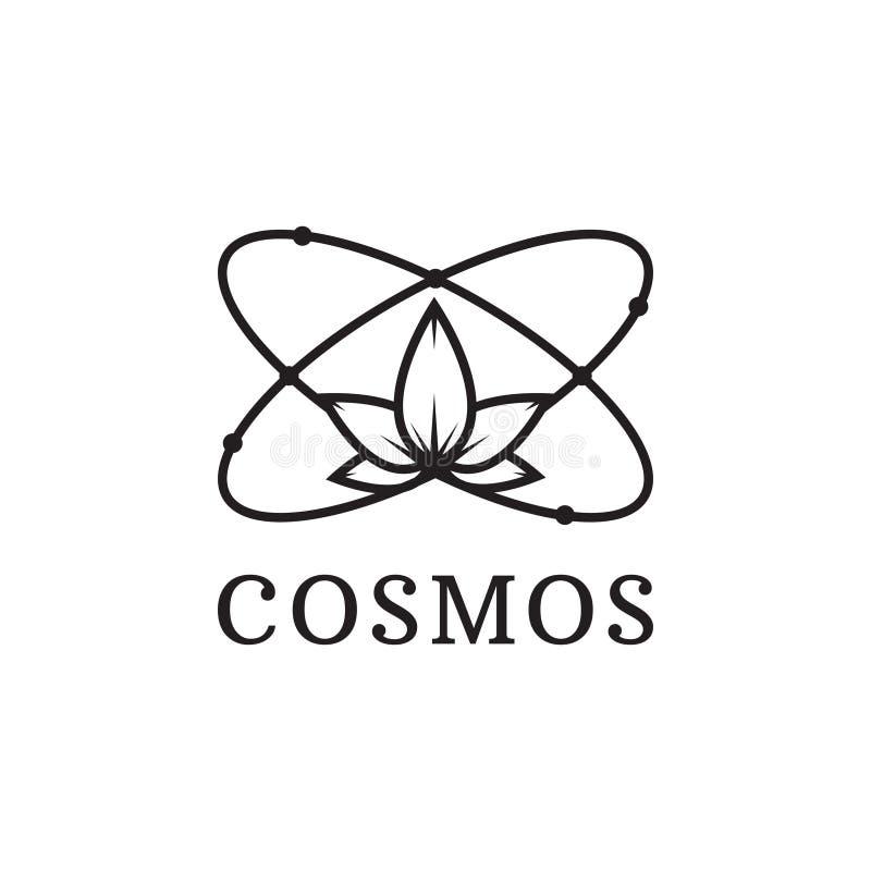 Einfache schwarze Ikone des Atoms Kosmoslogo stock abbildung