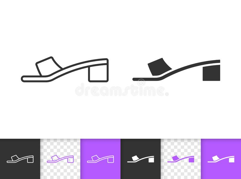 Einfache schwarze Linie Vektorikone der Frauen-Schuhe stock abbildung