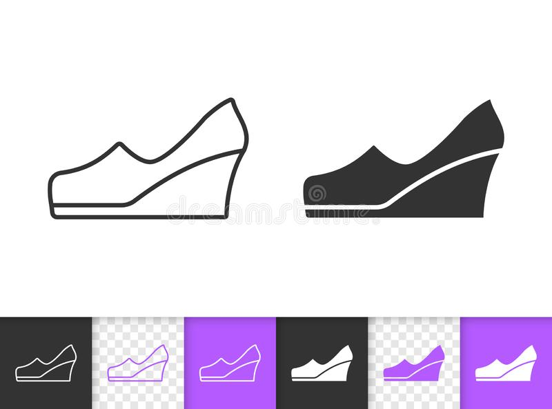 Einfache schwarze Linie Vektorikone der Frauen-Schuhe lizenzfreie abbildung