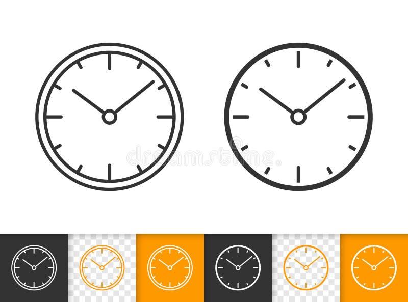 Einfache schwarze Linie Vektorikone der Uhr stock abbildung