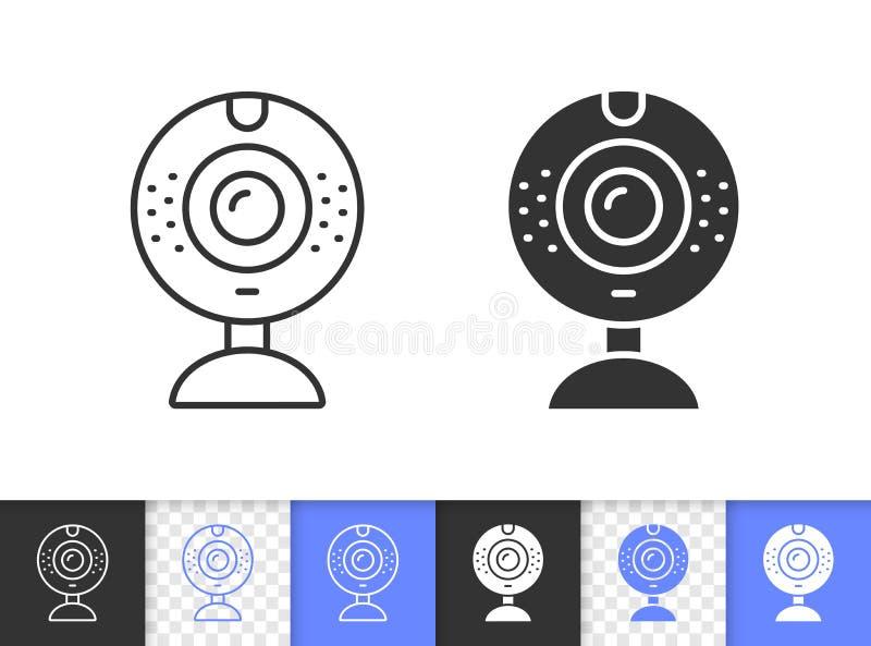 Einfache schwarze Linie Vektorikone der Web-Kamera stock abbildung