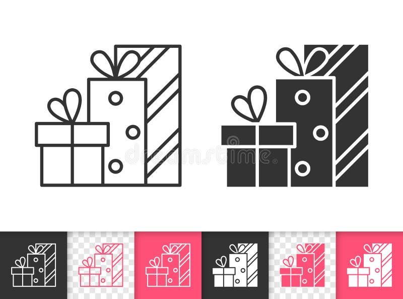 Einfache schwarze Linie Vektorikone des Geschenks stock abbildung